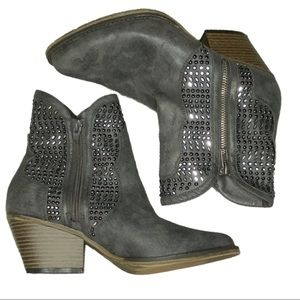 Mia Joaquin Zip Ankle Boot Embellished Charcoal